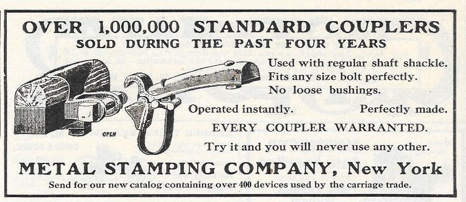 1907 newspaper advertisement for metal stamping in New York